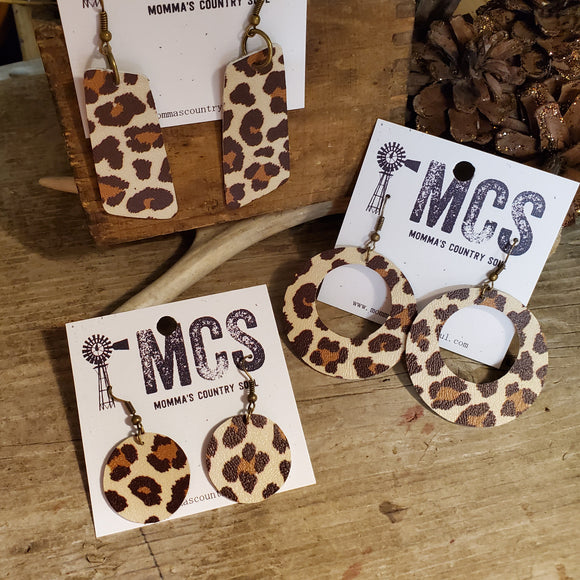 Faux Leather Cheetah earrings - Momma's Country Soul