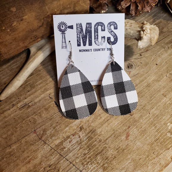 Black/white Buffalo plaid faux leather earrings - Momma's Country Soul