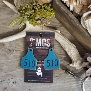 Turquoise Custom cattle tag earrings - Momma's Country Soul