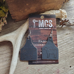Black leather cattle tag earrings - Momma's Country Soul