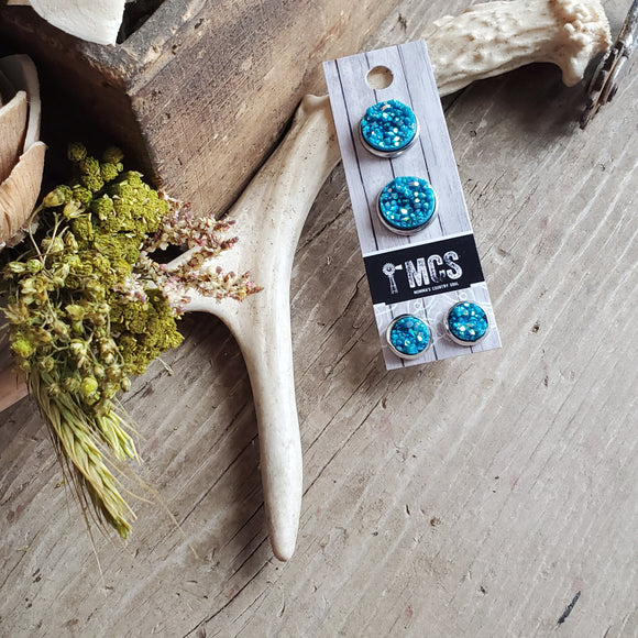 Momma and Me ~Turquoise Druzy Studs - Momma's Country Soul