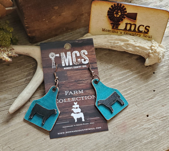 Turquoise or Mint Cattle tag leather earrings ~ 3D - Momma's Country Soul