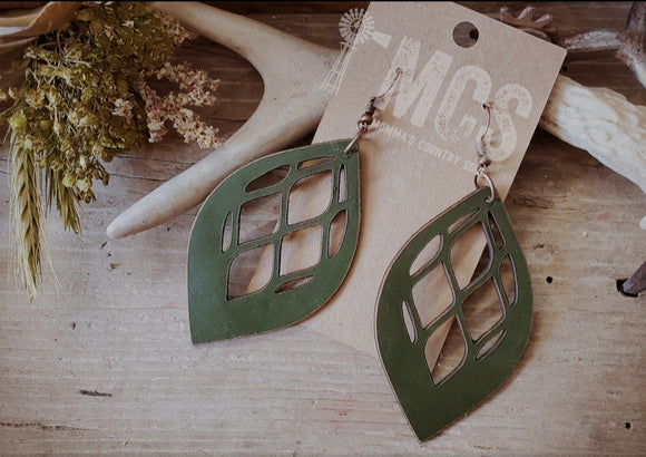 Olive diamond cut almond drop leather earrings - Momma's Country Soul