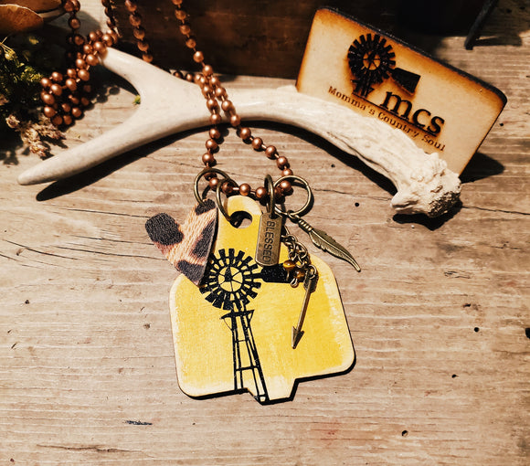 Autumn Harvest Windmill Cattle tag pendant necklace - Momma's Country Soul