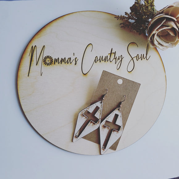 Old Rugged Cross genuine leather earrings - Momma's Country Soul