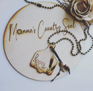 Roots and Wings- Cattle tag pendant necklace - Momma's Country Soul