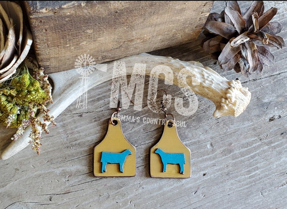 Mustard and Turquoise 3D Cattle tag earrings - Momma's Country Soul