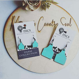 Custom Rustic Mint leather cow tag earrings-2 sizes
