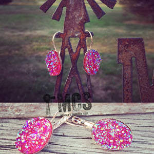 Oval druzy studs- Druzy dangle -Rose gold - Momma's Country Soul
