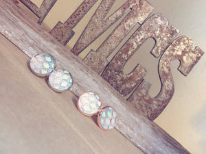 Mermaid studs~ iridescent stones - Momma's Country Soul