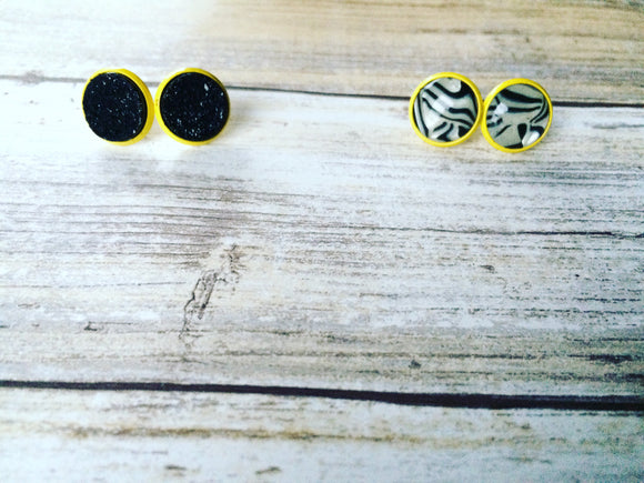 Spirit studs~ Yellow black and white - Momma's Country Soul