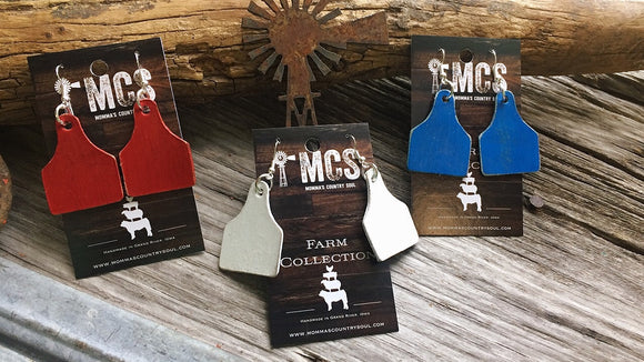 Red, white or blue leather cattle tag earrings - Momma's Country Soul