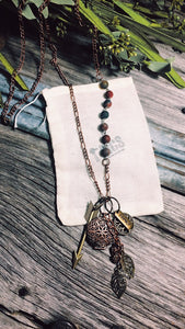 Antique copper and jasper Diffuser necklace - Momma's Country Soul
