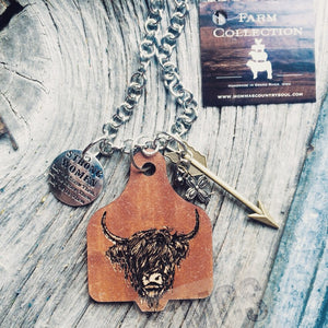 Highland Cow BeYOUtiful Cattle tag pendant necklace - Momma's Country Soul