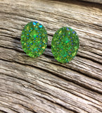 Diamond cut oval Druzy studs - Momma's Country Soul
