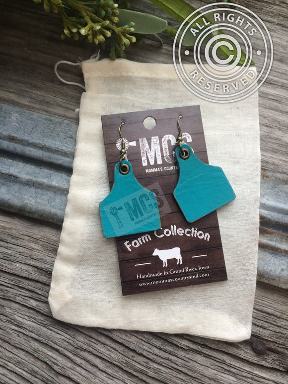 Leather cattle tag earrings ~Cow tag earrings - Momma's Country Soul