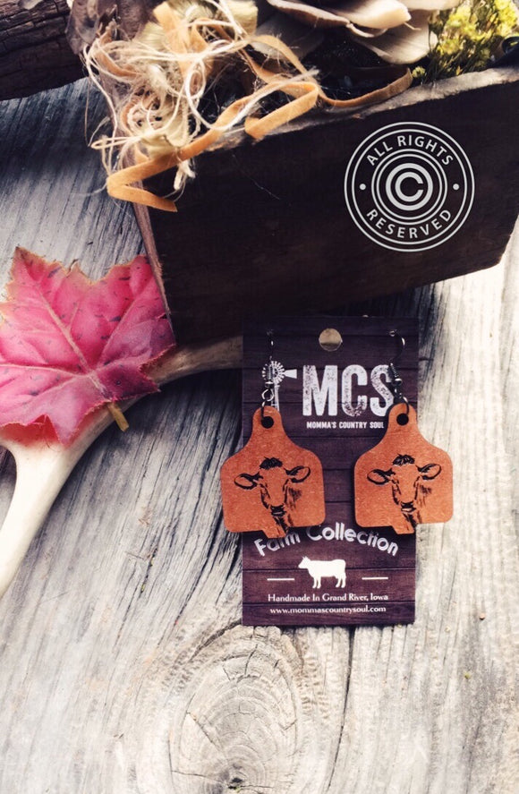 Wood cow tag earrings - Momma's Country Soul