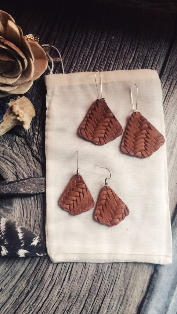 Toasted Carmel braided leather earrings - Momma's Country Soul