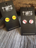 Baseball or softball leather stud earrings - Momma's Country Soul