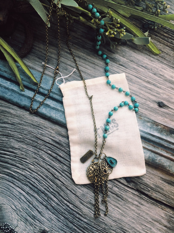 Turquoise rosary diffuser necklace - Momma's Country Soul