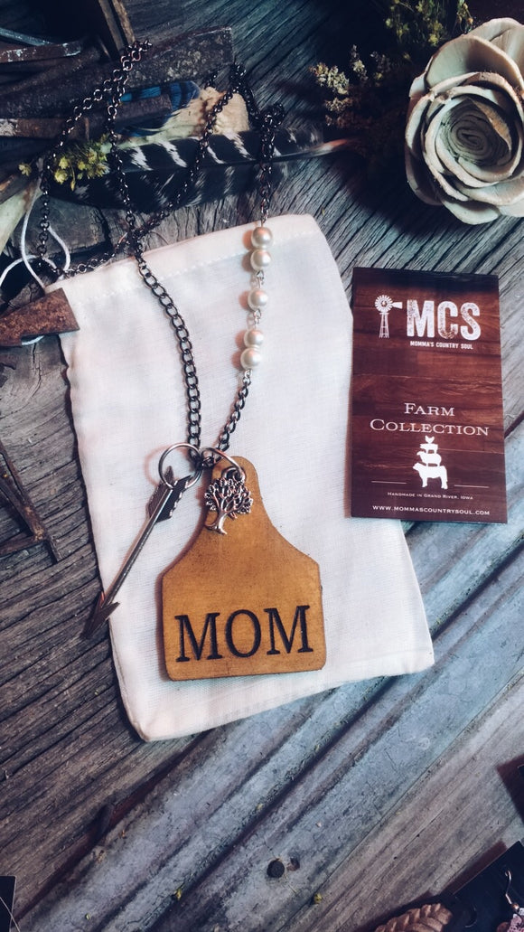 Leather Cattle Tag MOM Necklace~cow tags~ ear tag - Momma's Country Soul