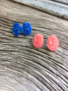 Pink or blue oval Druzy studs - Momma's Country Soul