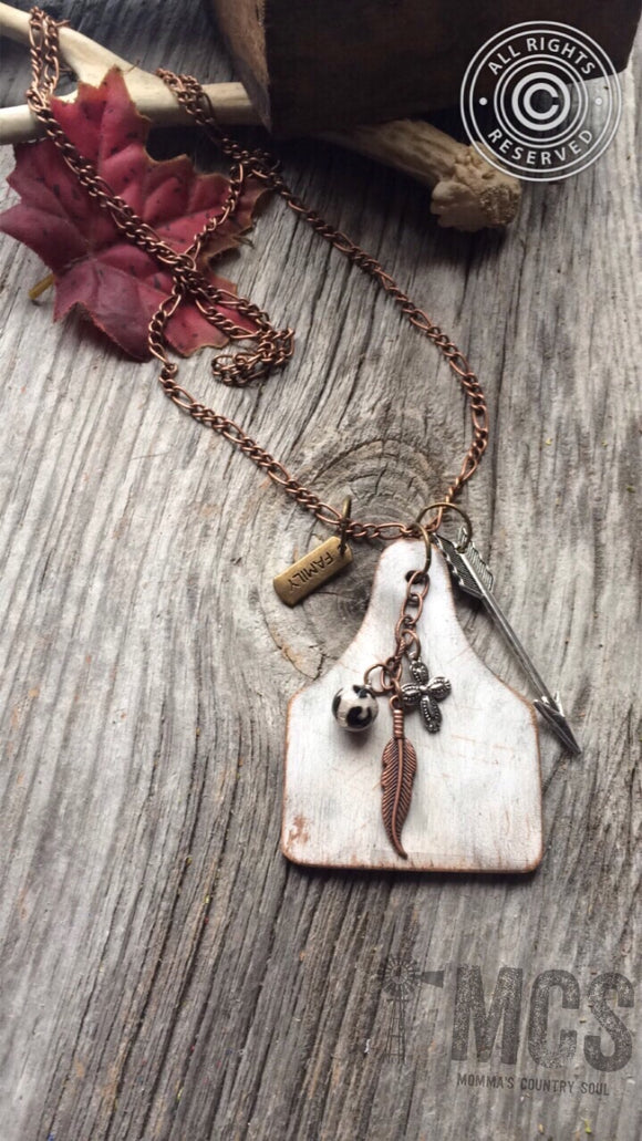 White washed wood cattle tag pendant necklace - Momma's Country Soul