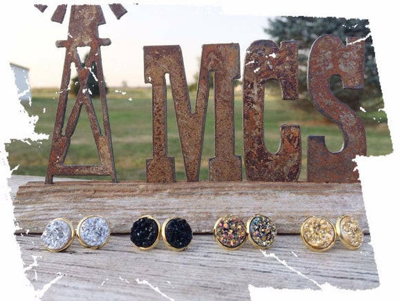 12mm Druzy studs - Momma's Country Soul