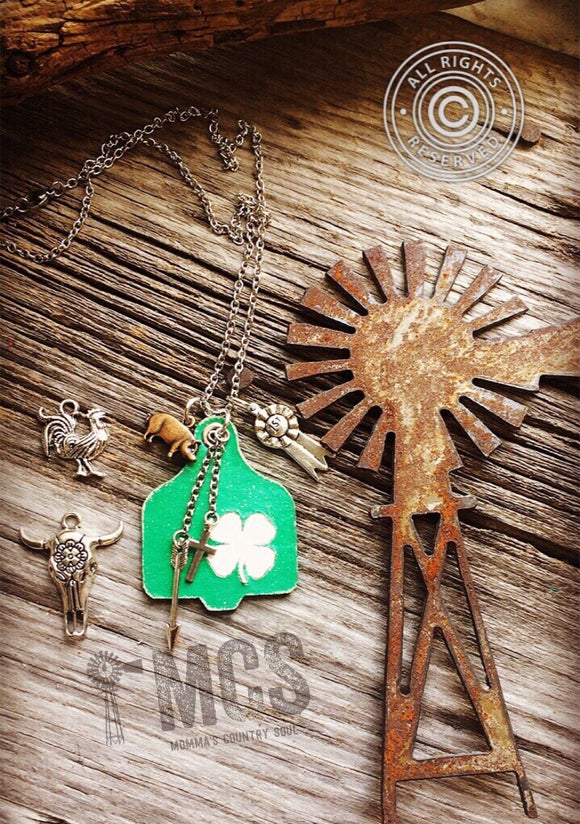 Youth cattle tag pendant necklace ~ 4-H clover - Momma's Country Soul