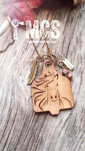 Wild Horses cow tag pendant necklace ~ Wild Horse - Momma's Country Soul
