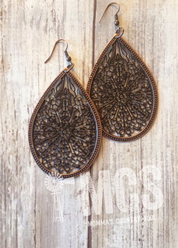 "Copper filigree teardrops 3"" - Momma's Country Soul"