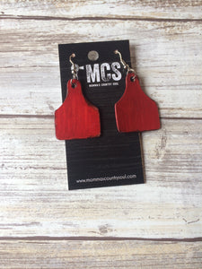 Cow tag earrings ~ leather cattle tags - Momma's Country Soul