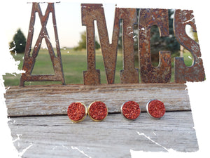 12mm Red Druzy studs - Momma's Country Soul