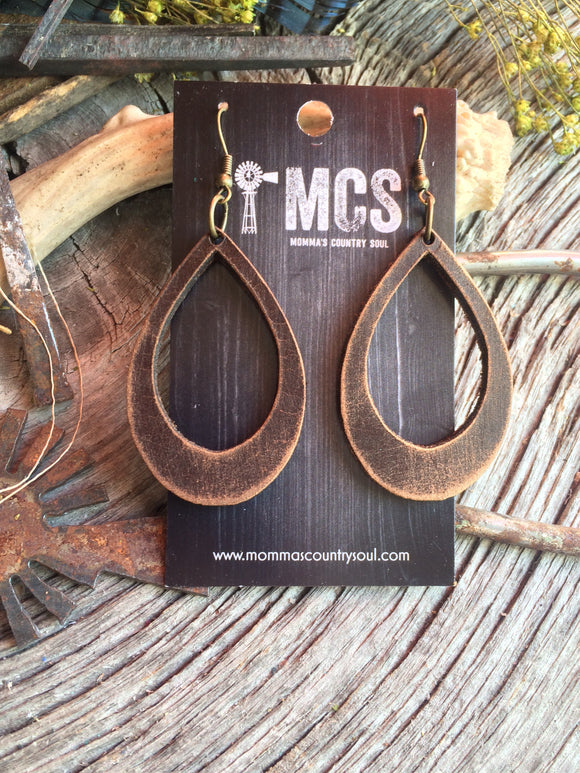 Distressed brown leather cutout teardrops - Momma's Country Soul