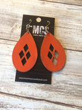 Leather earrings- diamond cutout teardrops ~ MCS exclusive design - Momma's Country Soul
