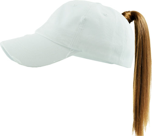 Country Babe High Ponytail Vintage Hat (White)