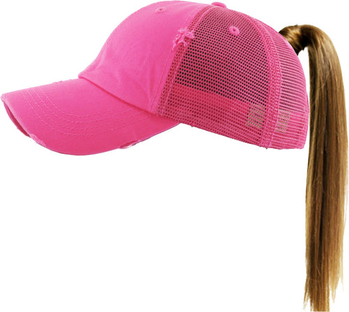 Sassy Babe High Ponytail Vintage Hat (Hot Pink)