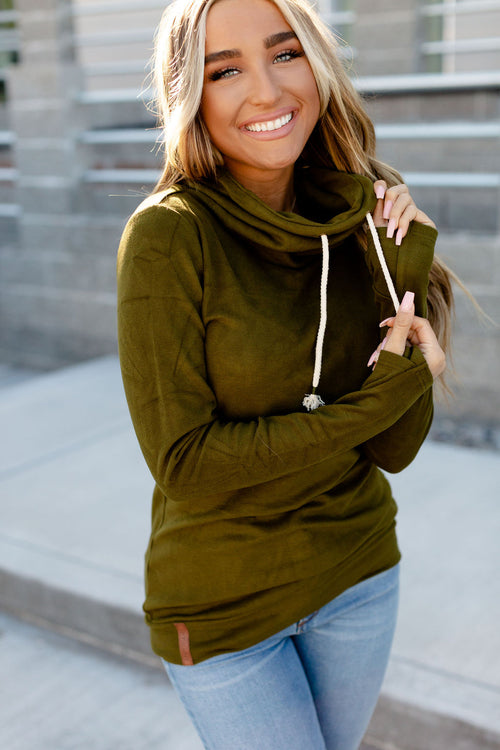 Performance Fleece CowlNeck Sweatshirt (Olive)