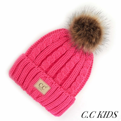 Kids Cable Ribbed Pom CC Beanie (Multiple Colors)