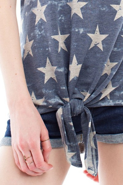 *Final Sale*Stars & Stripes Top (Blue Stars)
