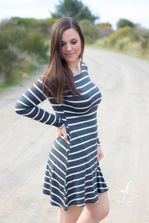 Lainey Striped Dress (Charcoal)