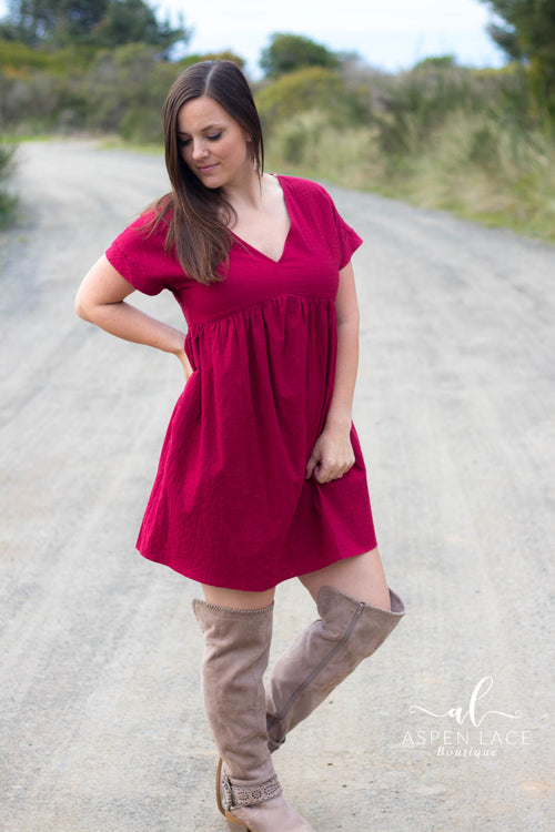 Auna Dress (Burgundy)