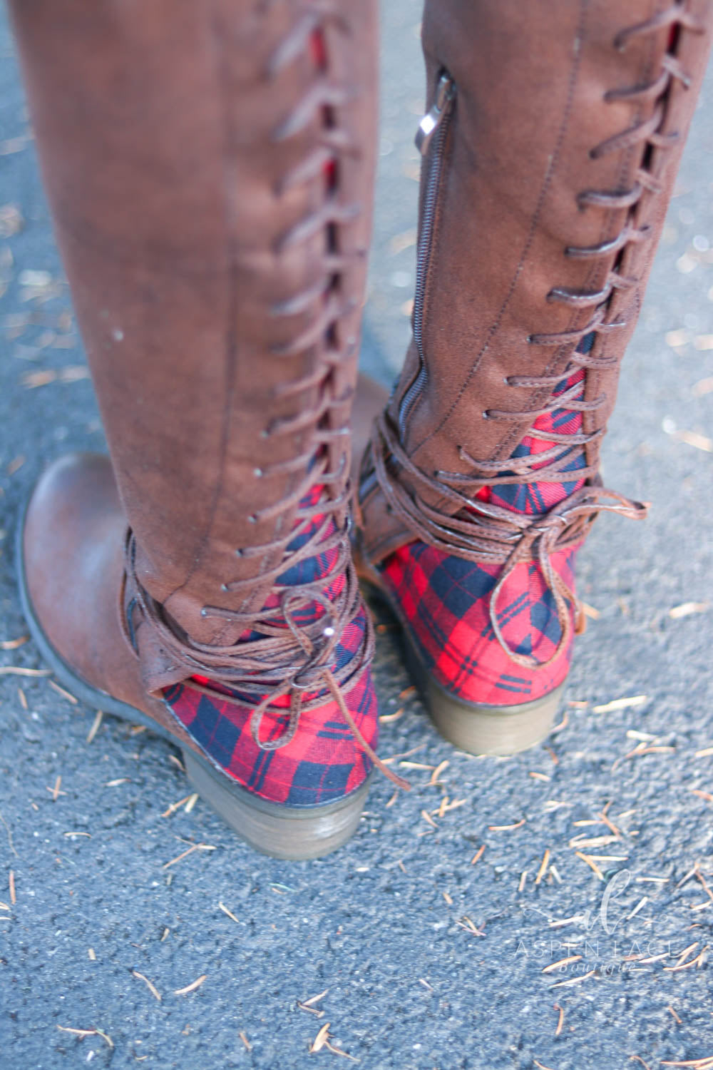 Marla Lace Up Boots (Brown & Buffalo Plaid)