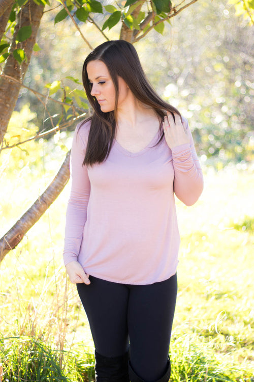 Back to Basics Long Sleeve Top (Dusty Pink)