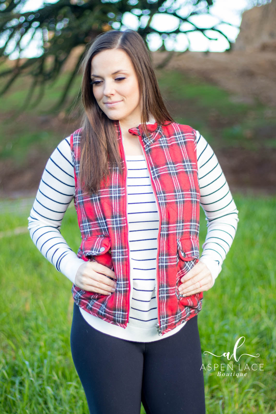 Cameron Plaid Puffer Vest (Red)