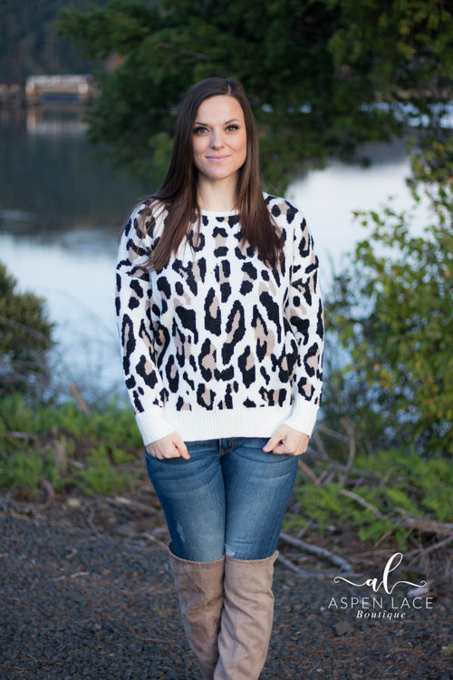 Rainee Cheetah Print Sweater (Ivory)