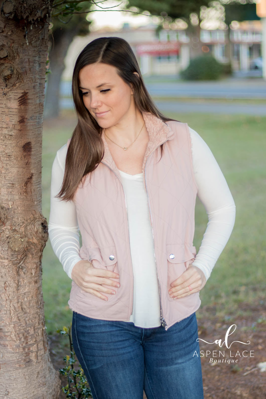 Fawna Quilted Vest (Mauve)