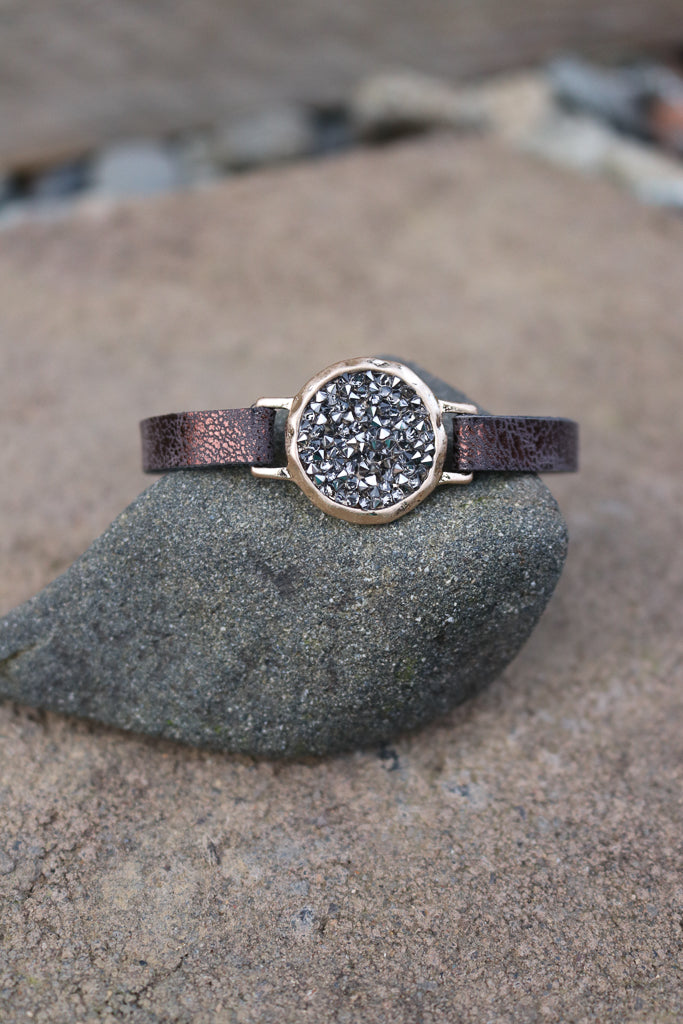 Round Rhinestone Studded Bracelet (Multiple Colors)