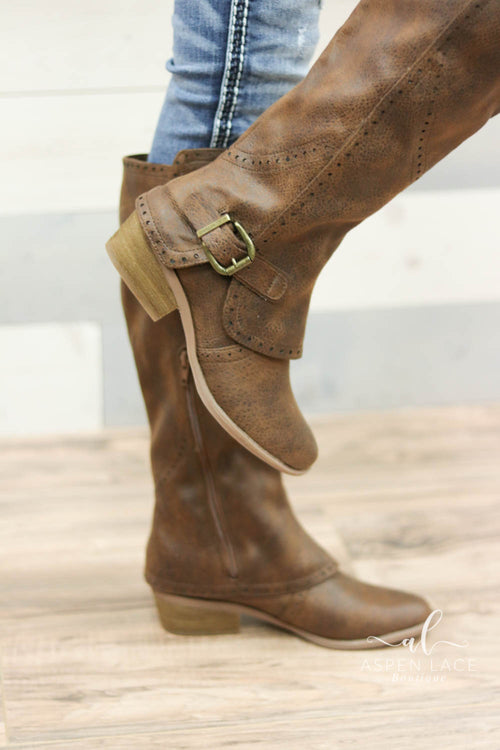 *Final Sale* Not Rated Yuriko Boots (Tan)