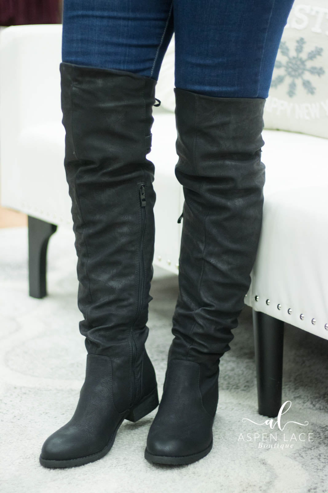 Jessie Over The Knee Boots (Black)